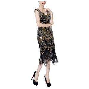 1920s V Neck Flapper Dress Gatsby Prom Party Dress